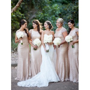 Court Train Scoop Neck Bridesmaid Dresses IDO0123