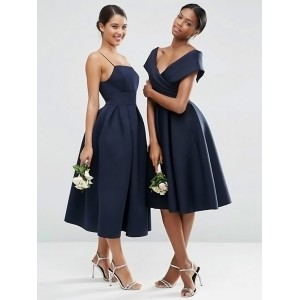A-Line Off-the-Shoulder Knee-length Satin Bridesmaid Dress PB161