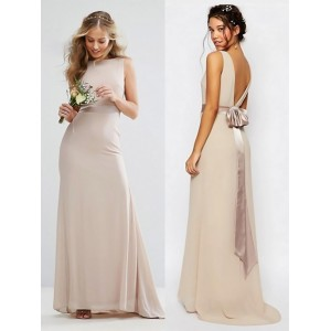 Sheath/Column-Line Bateau Floor-Length Chiffon Bridesmaid Dress PB165