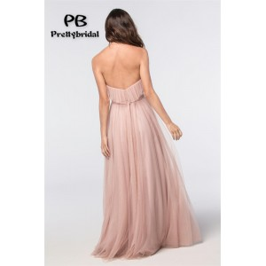 A-Line Strapless-Neck Floor-Length Tulle Bridesmaid Dress PB170