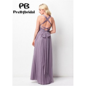 A-Line Sheer/Illusion-Straps Floor-Length Tulle Bridesmaid Dress PB171