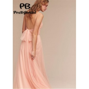 A-Line Spaghetti-Strap Floor-Length Tulle Bridesmaid Dress PB172