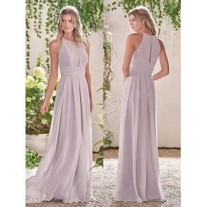 Sheath/Column-Line Halter-Neck Floor-Length Chiffon Bridesmaid Dress PB173