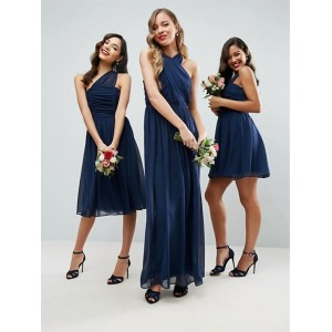 A-Line Halter-Neck Floor-Length Chiffon Bridesmaid Dress PB175