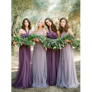 A-Line Halter-Neck Floor-Length Chiffon Bridesmaid Dress PB176