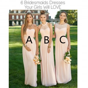 A-Line Halter-Neck Floor-Length Chiffon Bridesmaid Dress PB177