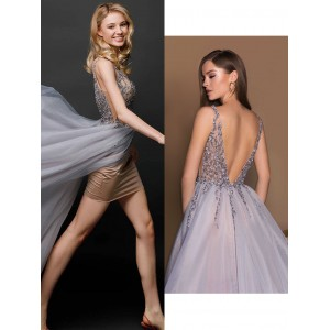 A-Line Sheer/Illusion-Straps Floor-Length Lace/Tulle Prom Dress AML0719