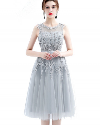A-Line Jewel-Neck Knee-length Lace/Tulle Cocktail Dress