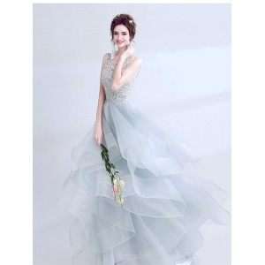 A-Line/Princess-Line Jewel-Neck Sweep/Brush Train Lace/Tulle Wedding Dress