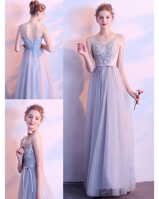 A-Line Scoop-Neck Knee-length Lace/Tulle Bridesmaid Dress HDP3047