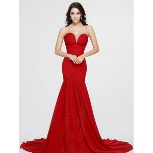 Trumpet/Mermaid-Line Sweetheart-Neck Chapel-Train Chiffon Prom Dress