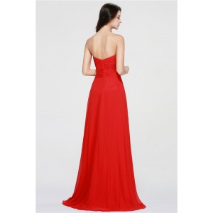 A-Line Sweetheart-Neck Floor-Length Chiffon Prom Dress