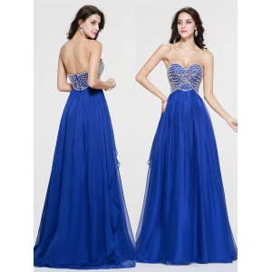 A-Line Sweetheart-Neck Floor-Length Tulle Prom Dress HDP4024