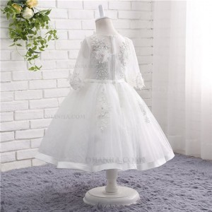 A-Line/Princess-Line Floor-Length Flower Girl Dress - Lace/Tulle Long Sleeves Jewel-Neck HGP2018838