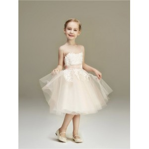 A-Line/Princess-Line Knee-length Flower Girl Dress - Lace/Tulle Sleeveless Jewel-Neck HGP2018881