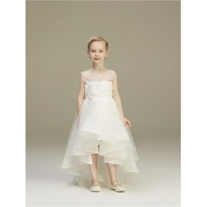A-Line Asymmetrical Flower Girl Dress - Lace/Tulle Sleeveless Jewel-Neck HGP2018886