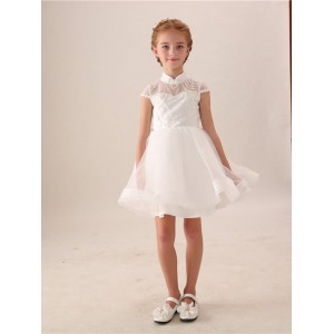 A-Line Knee-length Flower Girl Dress - Lace/Tulle Short Sleeves High Collar HGP2018888