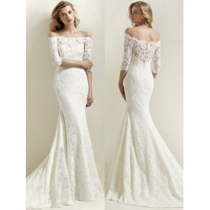 Trumpet/Mermaid-Line Off-the-Shoulder Sweep/Brush Train Lace Wedding Dress AL1202