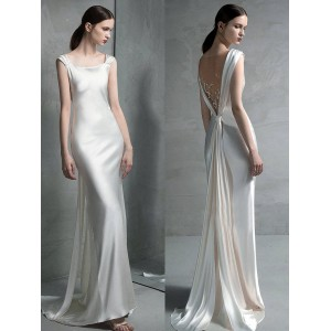 Sheath/Column-Line Scoop-Neck Sweep/Brush Train Satin Wedding Dress AML0716