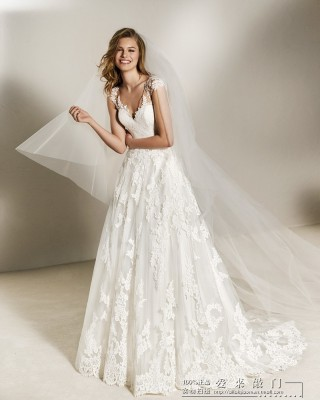 A-Line V-Neck Sweep/Brush Train Lace/Tulle Wedding Dress AL1203