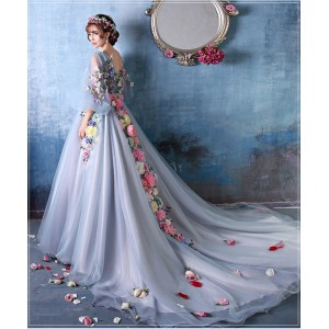 Ball-Gown/Princess-Line V-Neck Chapel-Train Lace/Tulle Wedding Dress HCP1028