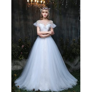 A-Line/Princess-Line Sheer/Illusion-Straps Chapel-Train Lace/Tulle Wedding Dress HCP1029