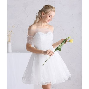A-Line Sweetheart-Neck Knee-length Tulle Wedding Dress HCP2018244