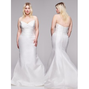 Trumpet/Mermaid-Line Sweetheart-Neck Sweep/Brush Train Satin Plus Size Wedding Dress Plu0112