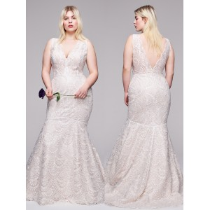 Trumpet/Mermaid-Line V-Neck Sweep/Brush Train Lace Plus Size Wedding Dress Plu0114