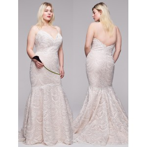 Trumpet/Mermaid-Line V-Neck Spaghetti-Strap Sweep/Brush Train Lace Plus Size Wedding Dress Plu0116