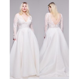 A-Line V-Neck Sweep/Brush Train Lace/Satin Plus Size Wedding Dress Plu0117