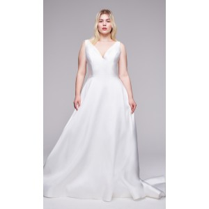 A-Line V-Neck Court-Train Satin Plus Size Wedding Dress Plu0118