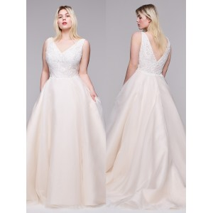 A-Line V-Neck Sweep/Brush Train Lace/Satin Plus Size Wedding Dress Plu0119