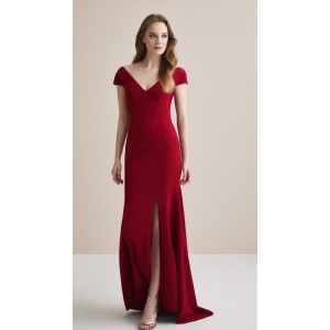 Sheath/Column-Line V-Neck Sweep/Brush Train Satin Evening Dress AML0730