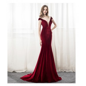 Trumpet/Mermaid-Line V-Neck Sweep/Brush Train Satin Evening Dress AML0761