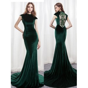 Trumpet/Mermaid-Line Portrait Collar Sweep/Brush Train Satin Evening Dress AML0771
