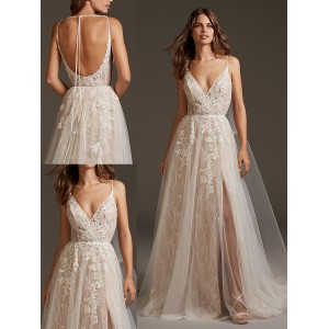 A-Line V-Neck Spaghetti-Strap Sweep/Brush Train Lace/Tulle Wedding Dress WED38