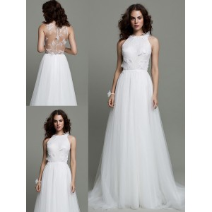 A-Line Jewel-Neck Sweep/Brush Train Lace/Tulle Wedding Dress WED41
