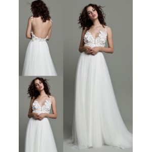 A-Line V-Neck Spaghetti-Strap Sweep/Brush Train Lace/Tulle Wedding Dress WED42