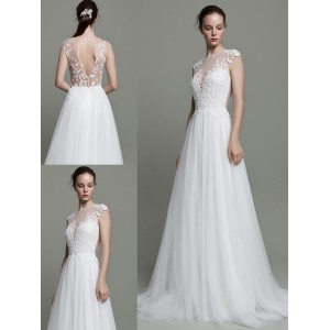 A-Line Scoop-Neck Sweep/Brush Train Lace/Tulle Wedding Dress WED45