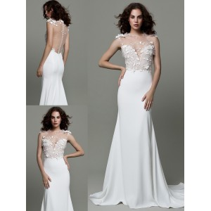 Trumpet/Mermaid-Line Sheer/Illusion-Straps Sweep/Brush Train Lace/Satin Wedding Dress WED48