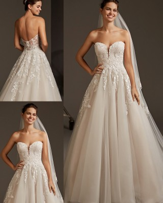A-Line/Princess-Line Strapless-Neck Sweep/Brush Train Lace/Tulle Wedding Dress WED51